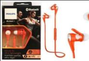 AURICULARES PHILIPS SHQ-7300OR ACTION FIT AIRBORN DEPORTIVO BT NFC HANDSFREE CALLS